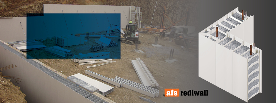 New Product. AFS Rediwall® a polymer based permanent formwork system ideal for basement and retaining walls.